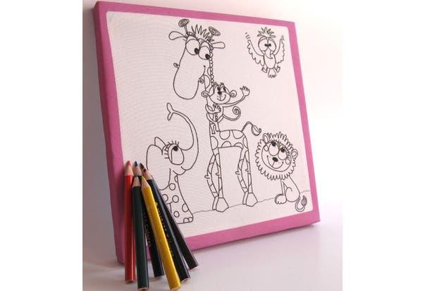 Cuadros para pintar con distintos motivos que vienen con lápices de colores (Mi primer cuadro, $50).