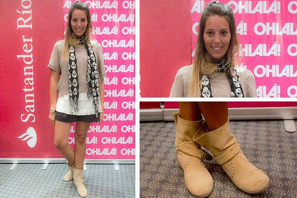 Un conjunto en tonos tierra: short, botitas, sweater con mangas cortas y pañuelo. Foto: Matías Aimar