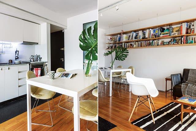 En el living, alfombra de lana de 1,5x2m ($10.560, Tienda de Costumbres), mesa ratona de madera (Vassily) y sillón antiguo retapizado con pana amarilla