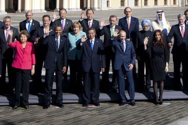 Los líderes mundiales llegados a San Petersburgo se tomaron hoy la tradicional foto de familia