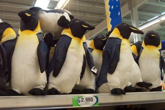 Pingüinos de peluche, el souvenir más vendido en la ciudad a los visitantes. Foto: LA NACION / Juan Pablo De Santis