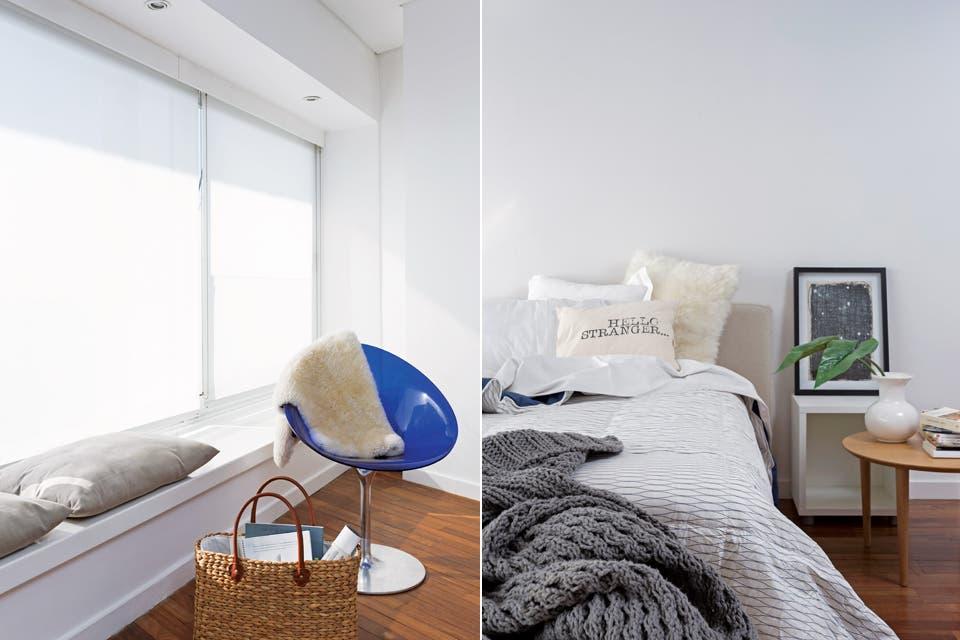 Como mesa de luz se colocó una Saarinen (Manifesto) con lámpara 'Tolomeo' cromada (Iluminación Agüero). Del otro lado, mesa redonda baja y banco al pie de la cama (ambos de Broca Muebles).  Foto:Living /Daniel Karp