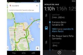 A la izquierda, el nuevo Google Maps para móviles; a la derecha, Nokia Tránsito