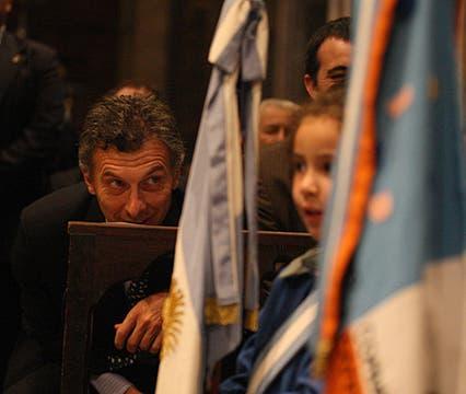 El Jefe de Gobierno Porteño Mauricio Macri, durante la misa del Cardenal Bergoglio. Foto: LA NACION / Ricardo Pristupluk