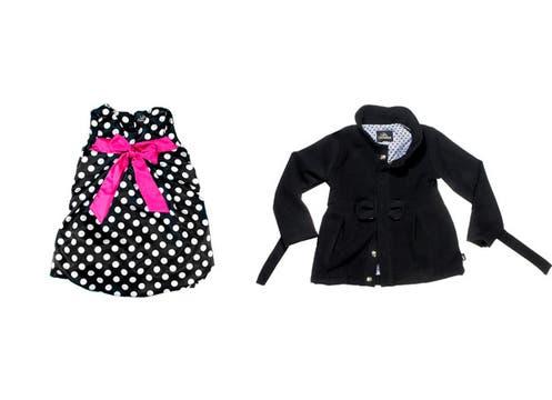 Para nenas coquetas, Las Castañitas propone un vestido de satén estampado a lunares con moño fucsia ($149) y tapado de paño ($215). Foto: lanacion.com