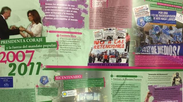 El afiche del primer gobierno de Cristina Kirchner, con énfasis en la ley de medios y en el conflicto con el campo