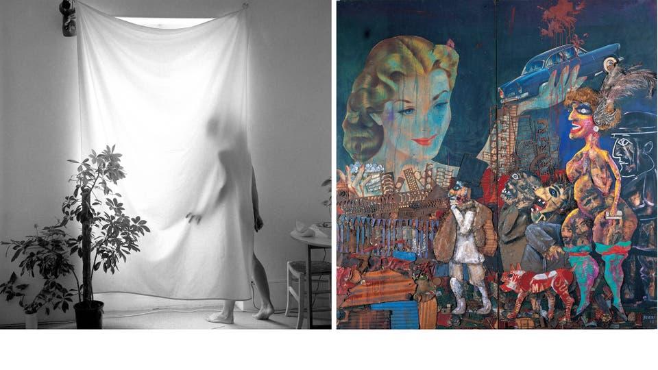 Fotografía de Oscar Pintor, una de las 250 que integran la colección de la Fototeca Latinoamericana creada por Gastón Deleau (izq.). La gran tentación (1962), de Antonio Berni, ilustró la tapa del catálogo de la muestra sobre el artista argentino que se exhibió en Buenos Aires y en el Museo de Bella