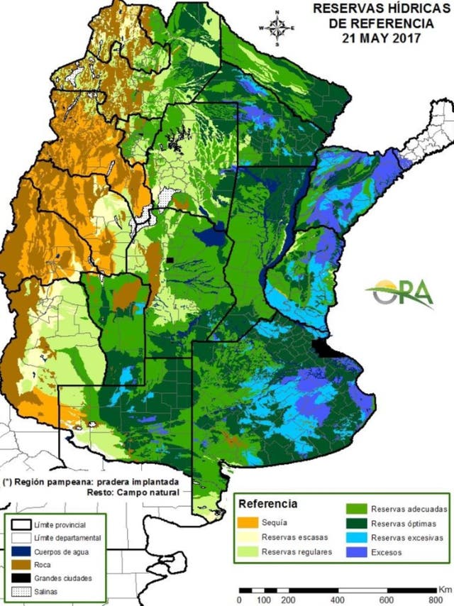 La reserva hídrica según las zonas