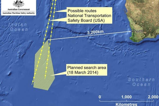 La imagen de la Autoridad Australiana de Seguridad Marítima (AMSA) muestra el área de búsqueda del avión de Malaysia Airlines, a 3200 kilómetros de Perth