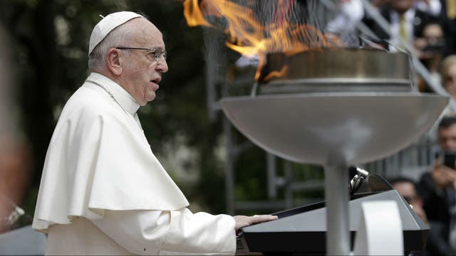 El Papa durante su primer discurso oficial en Bogotá