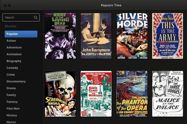 Una vista de la interfaz de Popcorn time, disponible para PC, Mac y Linux