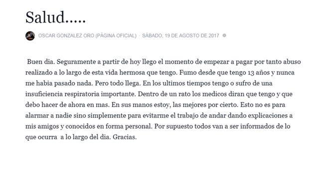 La conmovedora carta de Oscar González Oro sobre su estado de salud