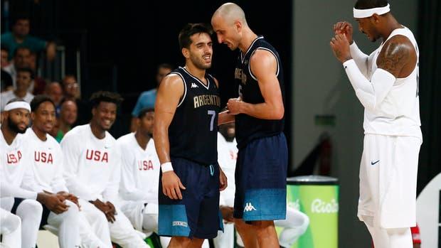 Campazzo, en Río 2016, rodeado de jugadores de la NBA; el partido contra los Estados Unidos hizo que varios equipos se fijaran en él