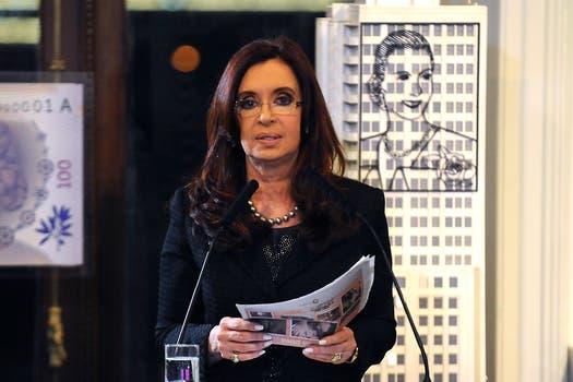Cristina durante su discurso ayer en la Casa Rosada. Foto: DyN