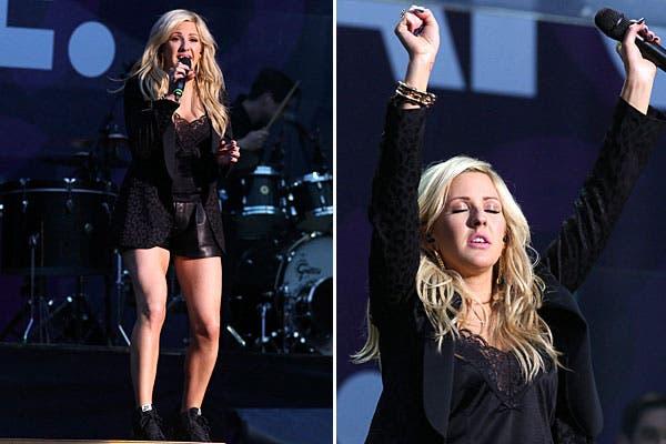 Short, camisa con encaje y blazer, el estilo de Ellie Goulding. Foto: Reuters y AP