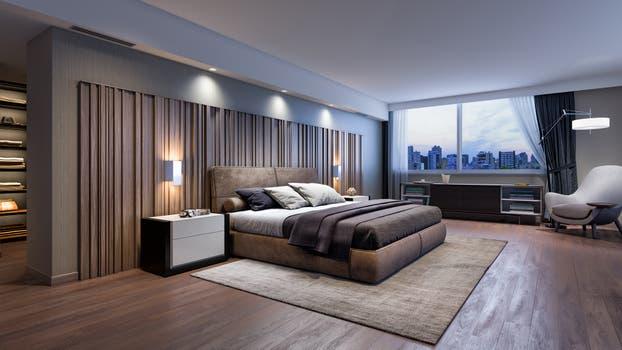 El dormitorio respeta el estilo racionalista del proyecto.