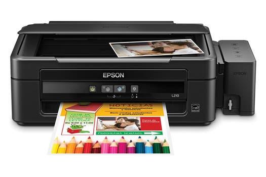 Epson L210:  inyección de tinta continua multifunción, con impresión, copia y escaneo, con conexión USB.