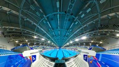 Vista 360 del centro acuático de la Villa Deportiva Nacional