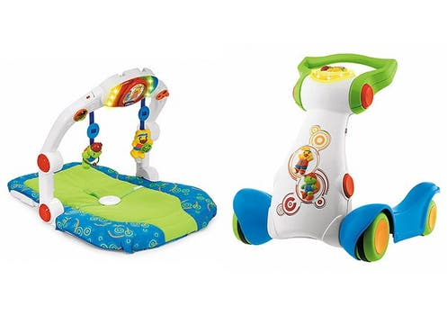 Chicco presenta su línea ErgoGym: el gimnasio Baby Trainer ($449,90) y el Baby Jogging ($389,90). En las principales jugueterías. Foto: lanacion.com
