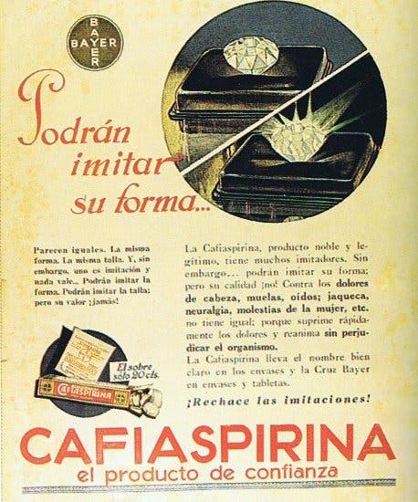 Cafiaspirina: un clásico del botiquín familiar, que también estaba integrado por Cirulaxia y Linimento Sloan