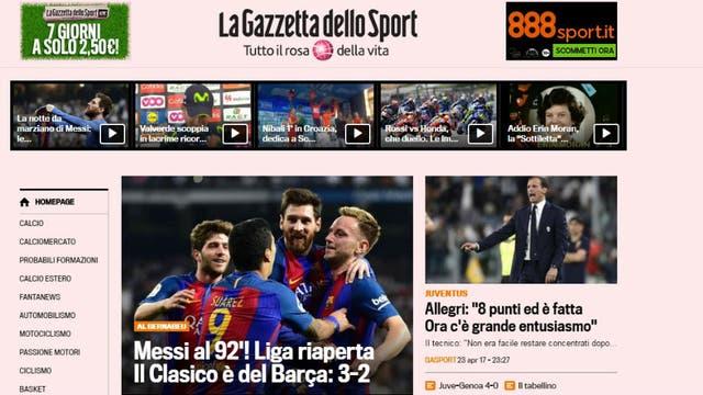 El diario La Gazzetta Dello Sport, de Italia. Foto: Archivo