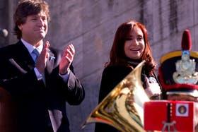 Cristina junto a Amado Boudou, en Rosario, durante ele acto por el Día de la Bandera