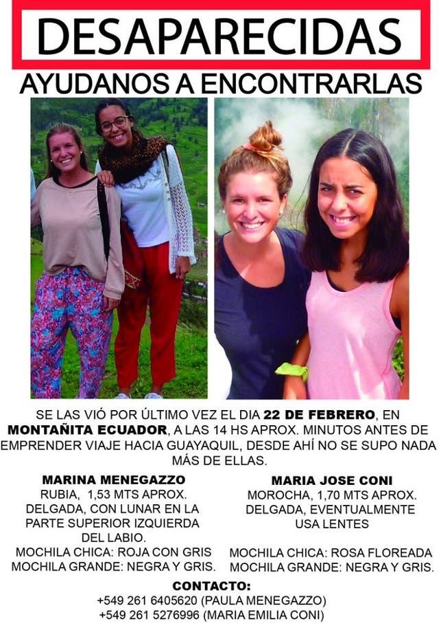 Marina Menegazzo y María José Coni, dos estudiantes mendocinas, fueron reportadas como