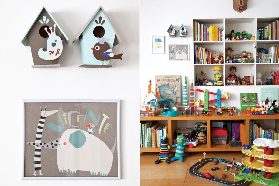La mamá de Vicente, que es artista plástica, pintó todos los cuadros del cuarto, y también hizo las casas de pájaro, que fueron la decoración de una torta de cumpleaños.  /Magalí Saberian
