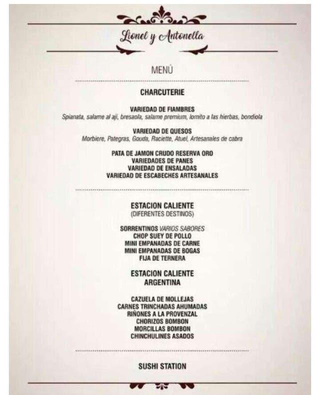 El menu del casamiento Messi-Antonela