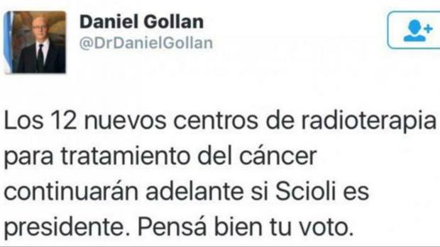 El tuit del ministro Gollán que luego borró