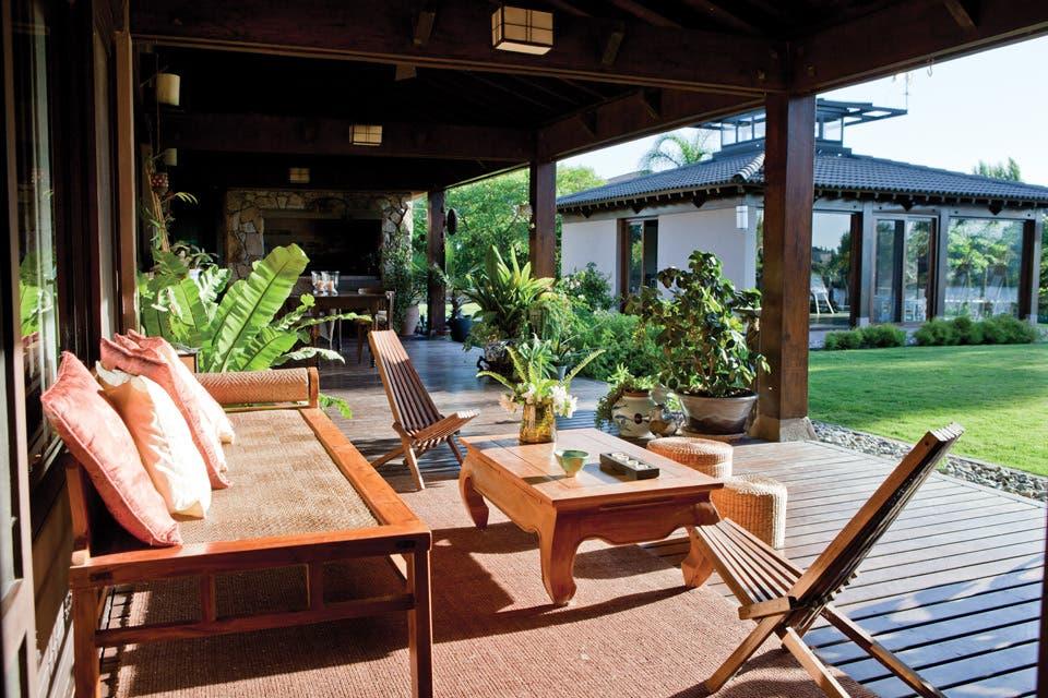 Espacios exteriores de inspiración oriental   living   espacio living