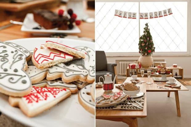 Sillas Eames (Manifesto), sillones tapizados en pana negra, lámpara de pie (Luminshop) y dos mesas bajas (todo BLVD) para las delicias servidas en una vajilla blanca de líneas simples..
