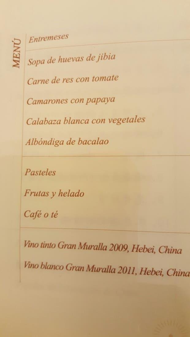 El menú que ofrecieron en el Salón Dorado del Palacio del Pueblo