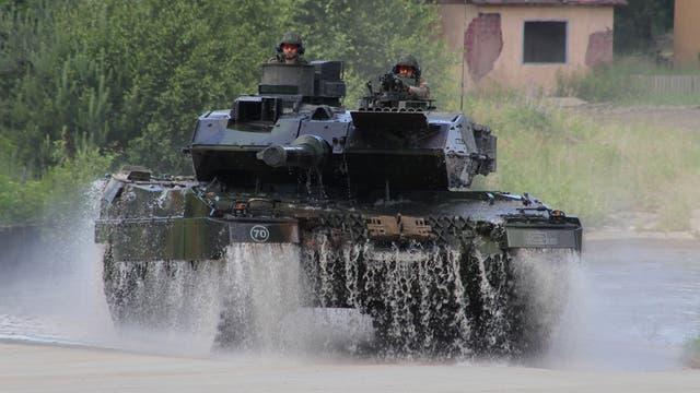 Un tanque en una demostración en Münster, Alemania