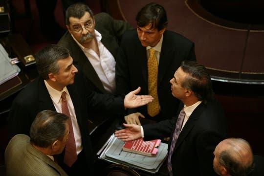 Morales, Martinez, Naidenoff y Pichetto, durante la Sesión en el Senado. Foto: LA NACION / Maxie Amena