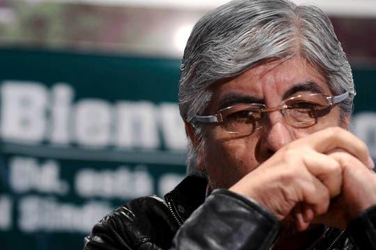 Hugo Moyano durante la conferencia de prensa que brindó en el sindicato de camioneros. Foto: DyN