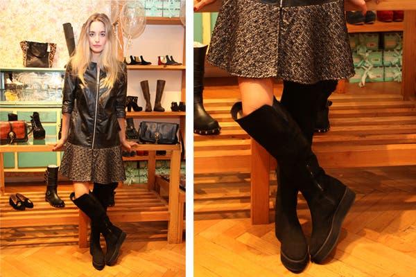 Juana Schindler se prepara para el frío con un tapado de cuero negro y botas hasta la rodilla. ¿Usarías este tipo de abrigos?. Foto: Mass PR