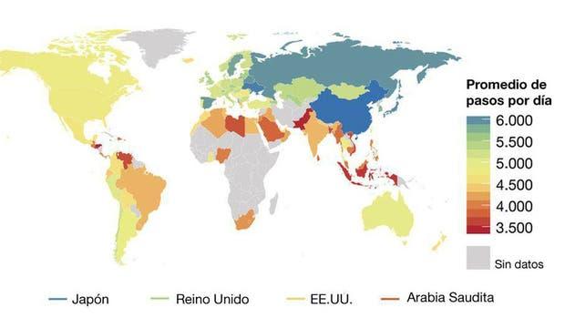 Este mapa muestra la media diaria de pasos según los datos de 111 países con al menos 100 usuarios de la aplicación Argus. Los países con colores cálidos indican niveles de actividad bajos. Pero los investigadores solo analizaron en detalle dos países de América Latina: Chile y México