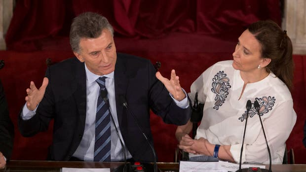 Macri durante su discurso en el Congreso