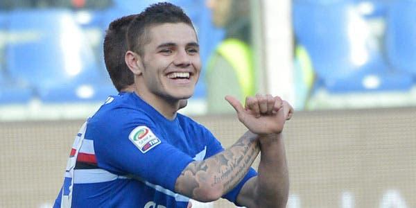 Icardi festeja un nuevo gol para otro triunfo de Sampdoria
