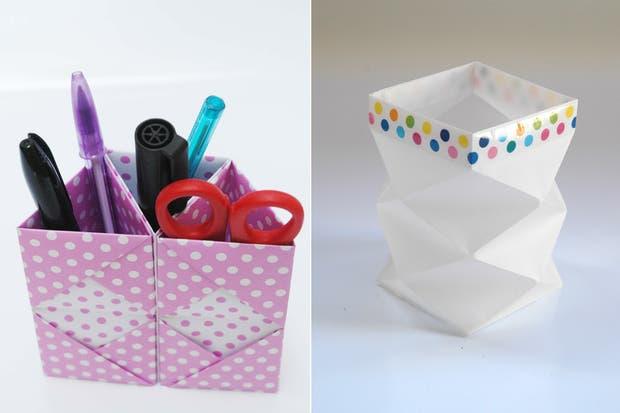 Contenedor para lápices y biromes, de Origami Fest.