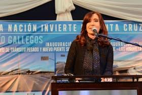 La Presidenta hoy, en la inauguración de obras viales en Río Gallegos