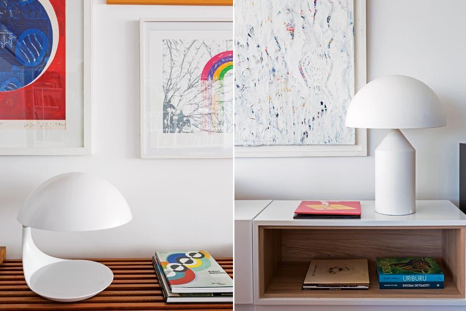 El diseño contemporáneo está presente en toda la ambientación mediante objetos y detalles, como la lámpara 'Atollo', de Vico Magistretti (Artemide), arriba a la derecha. Un juego de bancos de madera se usan también para lucir objetos (Estudio G+L).  Foto:Living /Daniel Karp
