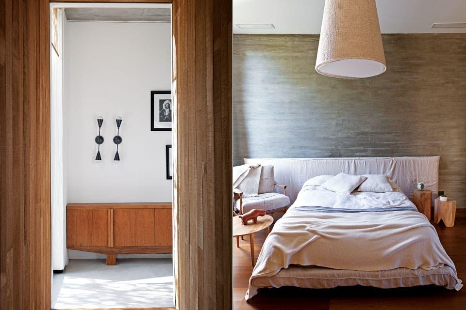 """""""Los dueños volvieron de un viaje a Suiza enamorados de una cabaña. Con un hogar a leña y una cabreada de madera en el techo emulamos sutilmente en su cuarto esa sensación de refugio"""" .  Foto:Living /Magalí Saberian"""