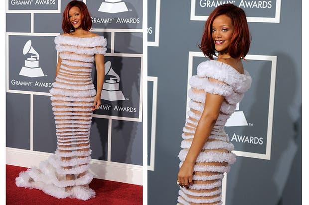 Rihanna eligió un vestido demasiado revelador de Jean Paul Gaultier; ¿qué opinan?. Foto: Archivo