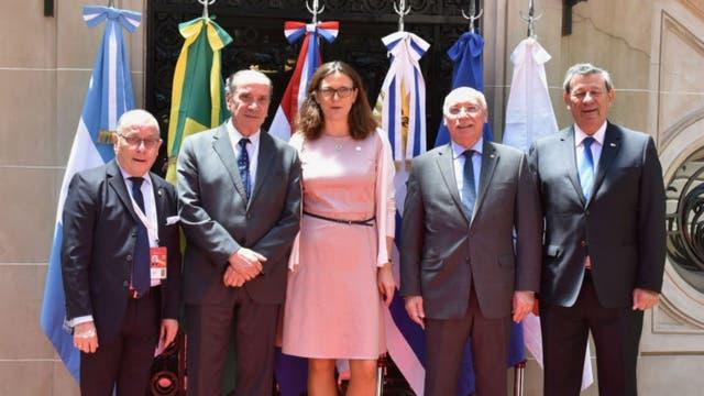 Los cancilleres del Mercosur se reunieron este mediodía en el Palacio San Martín