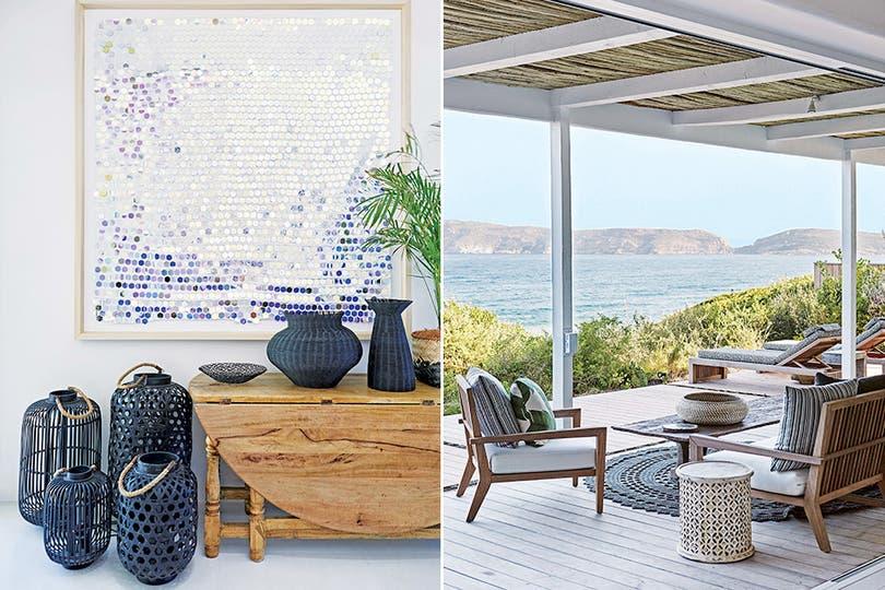 Aquí, hasta los rincones tienen expresividad a la máxima potencia, como el que vemos en la foto de la izquierda, con una mesa rústica, fanales de cestería en negro (Loft Living) y un cuadro de la artista sudafricana Lyndi Sales