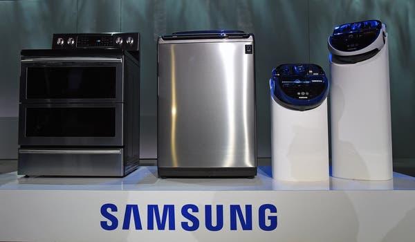 Cocina, lavarropas y aspiradoras robóticas de Samsung. Foto: AFP