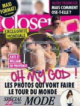 La tapa de la revista la muestra a Kate sacándose el corpiño de la malla