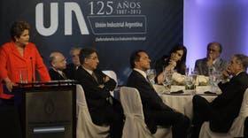 Rousseff y Kirchner, con Timerman, Pimentel, Scioli, Mendiguren y De Vido